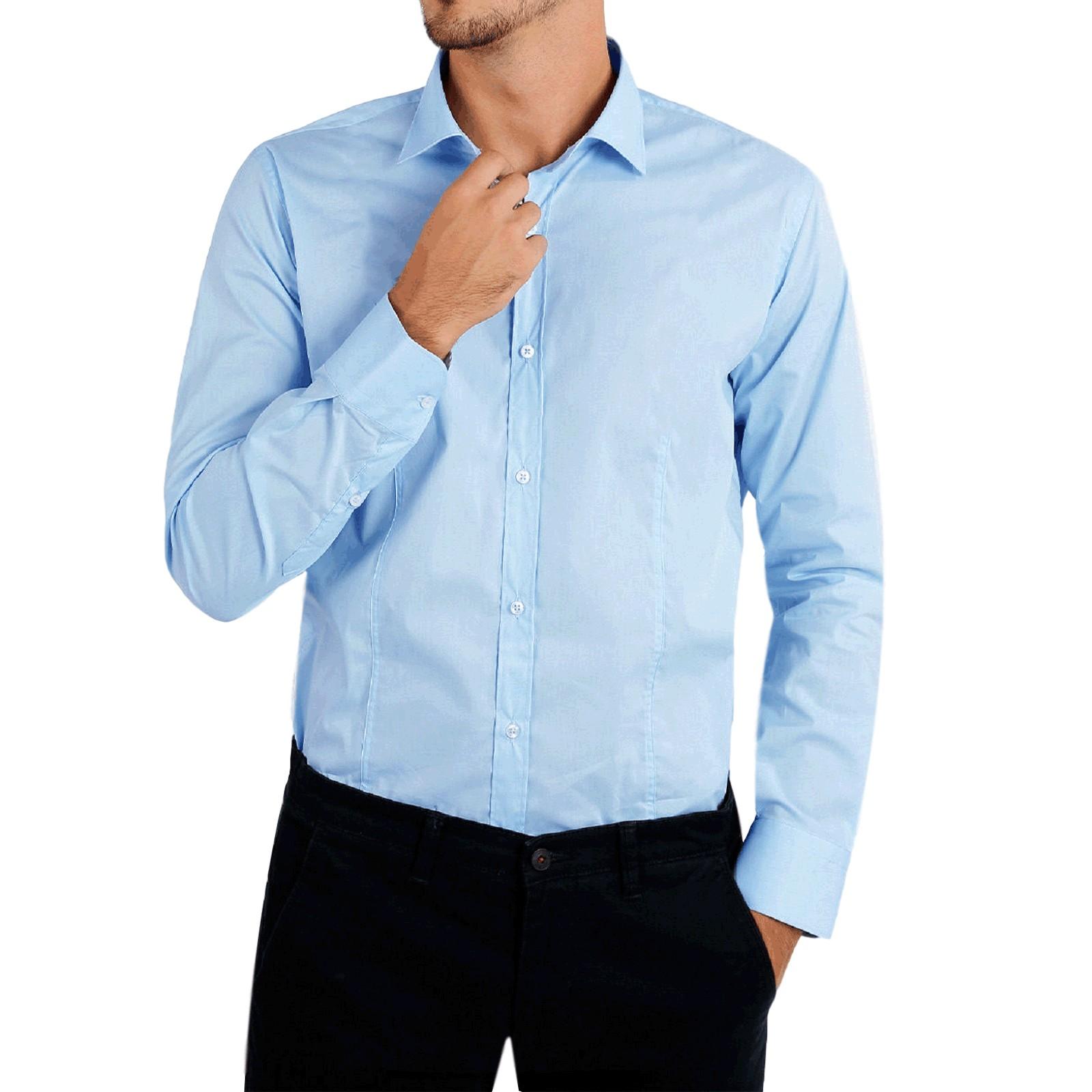 Camicia-Uomo-Celeste-Bianca-Slim-Fit-Manica-Lunga-Sartoriale-Cotone-TG-S-7XL miniatura 24