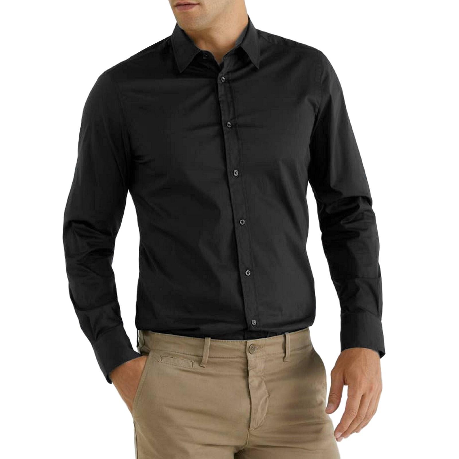 Camicia-Uomo-Celeste-Bianca-Slim-Fit-Manica-Lunga-Sartoriale-Cotone-TG-S-7XL miniatura 28