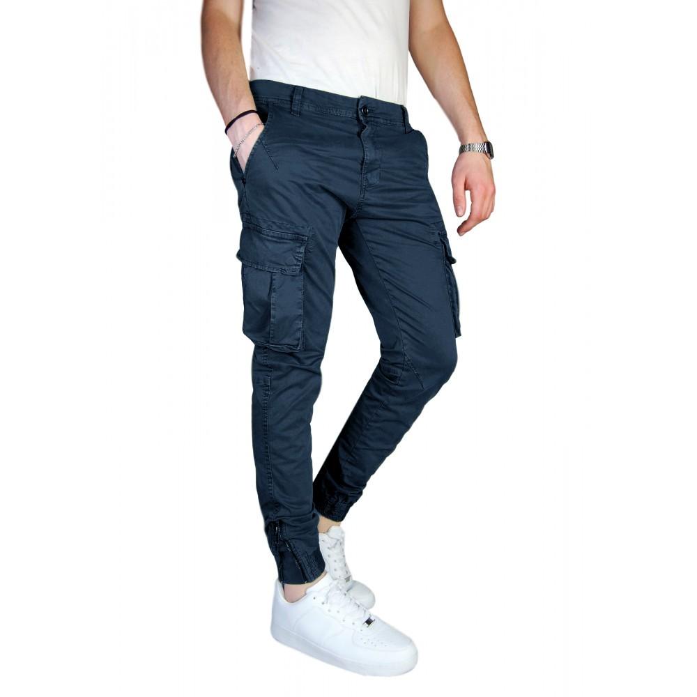 Pantalone-Uomo-Cargo-Invernale-Con-Tasconi-Verde-Blu-Grigio-Nero-Kaki-Primavera miniatura 27