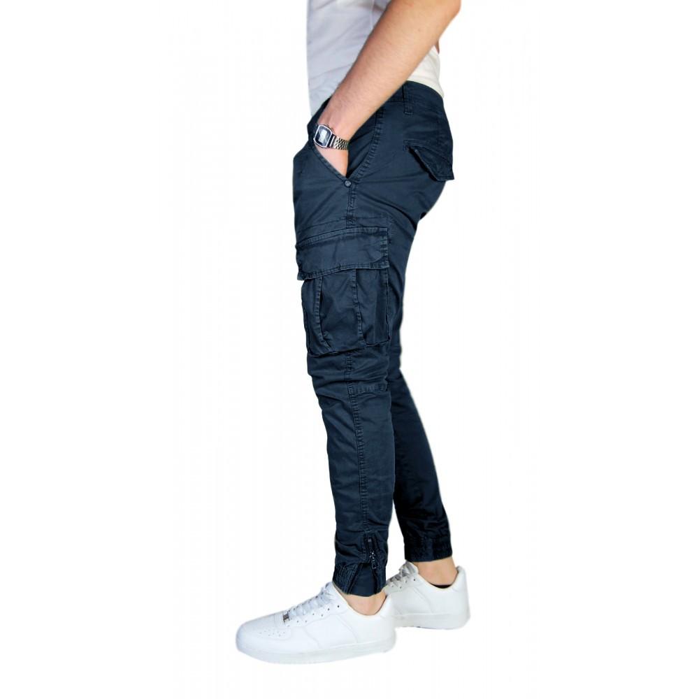 Pantalone-Uomo-Cargo-Invernale-Con-Tasconi-Verde-Blu-Grigio-Nero-Kaki-Primavera miniatura 26