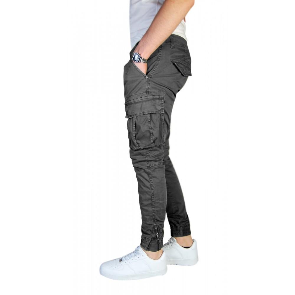 Pantalone-Uomo-Cargo-Invernale-Con-Tasconi-Verde-Blu-Grigio-Nero-Kaki-Primavera miniatura 22