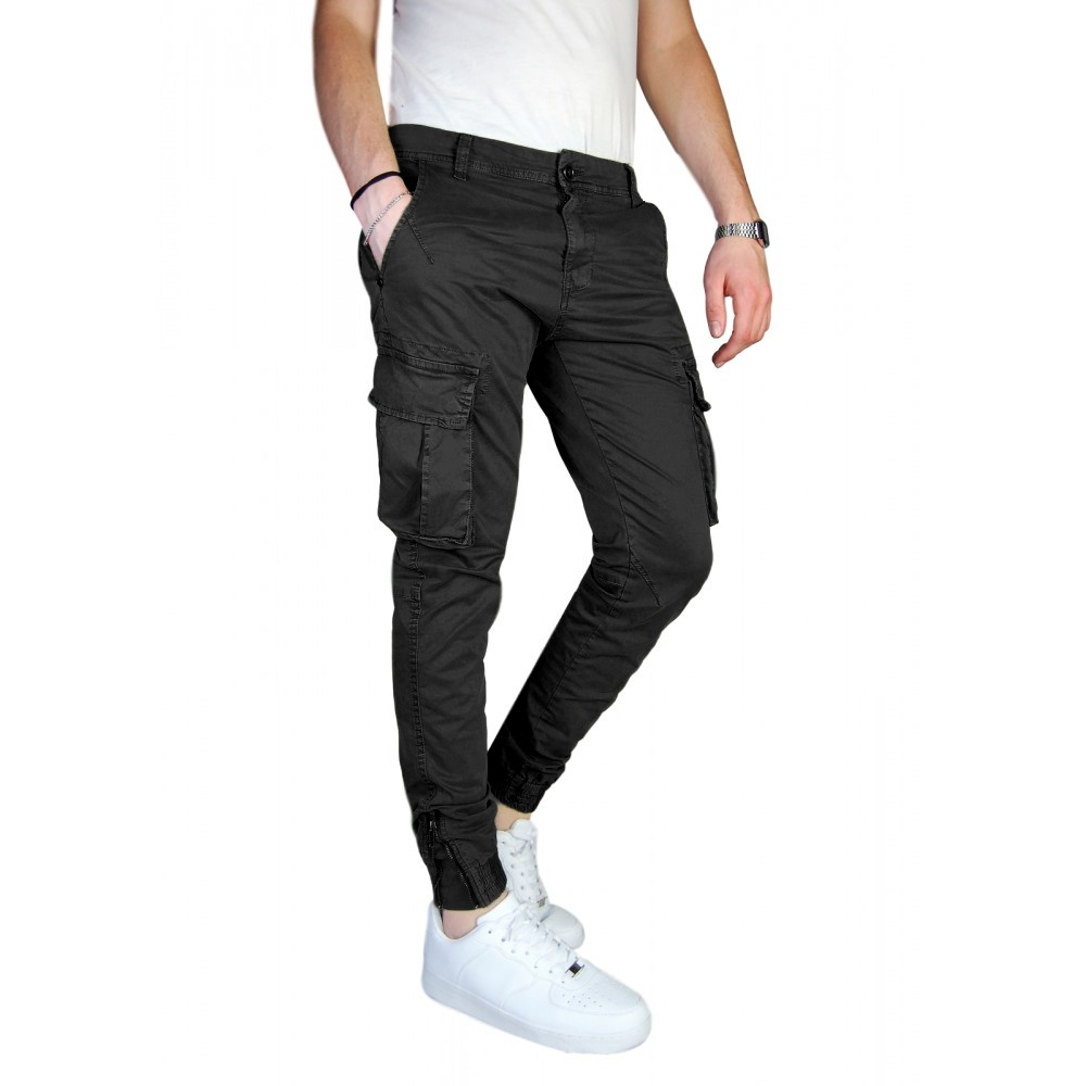 Pantalone-Uomo-Cargo-Invernale-Con-Tasconi-Verde-Blu-Grigio-Nero-Kaki-Primavera miniatura 15