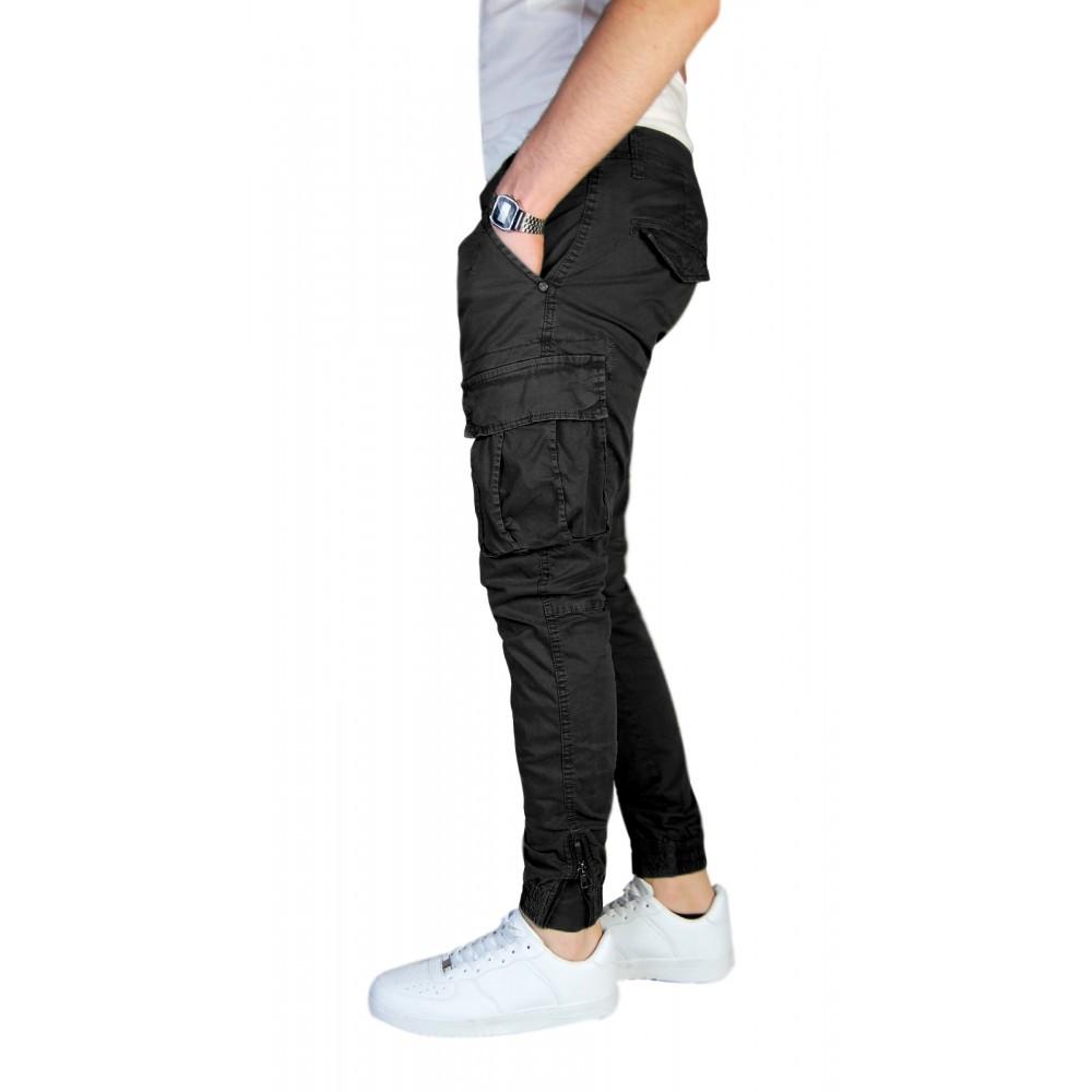 Pantalone-Uomo-Cargo-Invernale-Con-Tasconi-Verde-Blu-Grigio-Nero-Kaki-Primavera miniatura 14