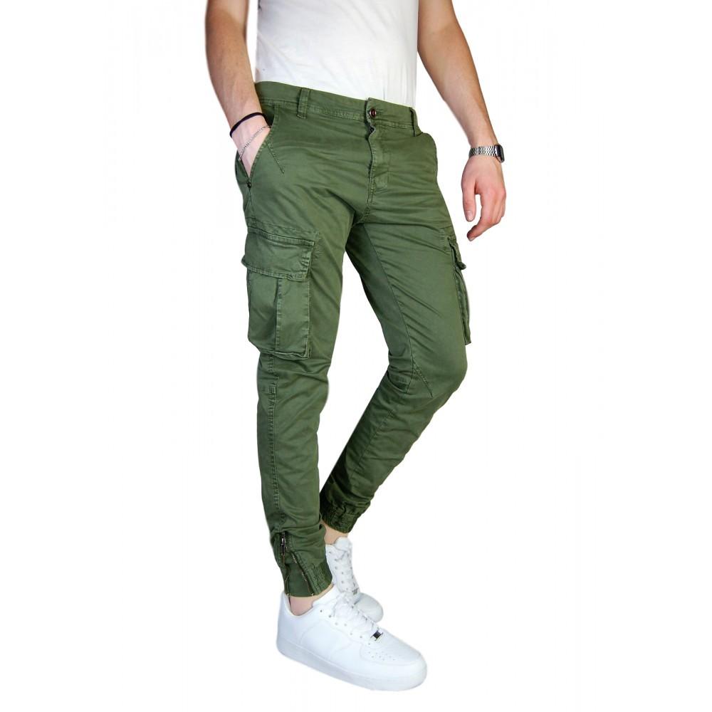 Pantalone-Uomo-Cargo-Invernale-Con-Tasconi-Verde-Blu-Grigio-Nero-Kaki-Primavera miniatura 19