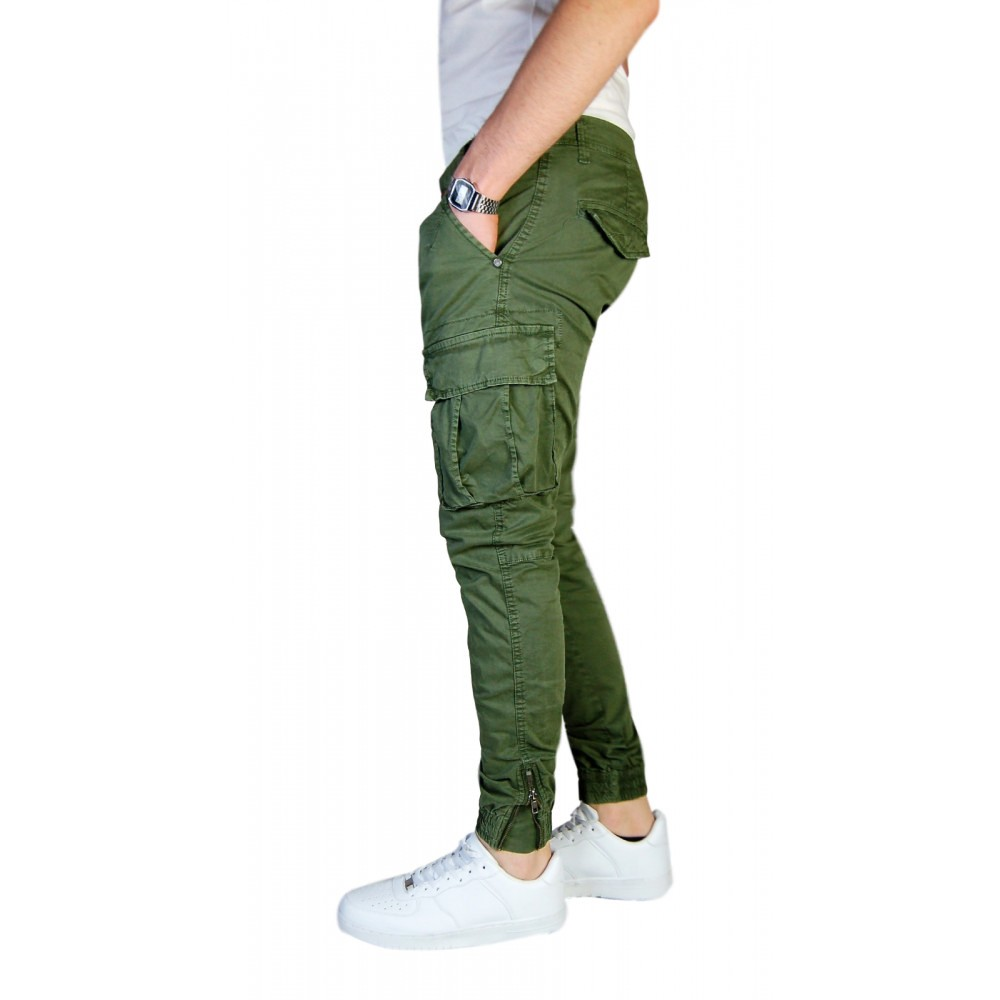 Pantalone-Uomo-Cargo-Invernale-Con-Tasconi-Verde-Blu-Grigio-Nero-Kaki-Primavera miniatura 18